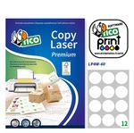 Etichetta adesiva LP4W - permanente - tonda ø 60 mm - 12 etichette per foglio - bianco - Tico - conf. 100 fogli A4