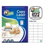 Etichetta adesiva LP4W - permanente - 70x42,3 mm - 21 etichetta per foglio - bianco - Tico - conf. 100 fogli A4