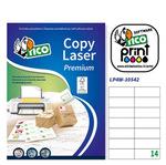 Etichetta adesiva LP4W - permanente - 105x42,3 mm - 14 etichette per foglio - bianco - Tico - conf. 100 fogli A4