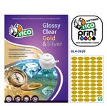 Etichetta adesiva GL4 - ovale - permanente - 36x20 mm - 60 etichette per foglio - satinata oro - Tico - conf. 100 fogli A4