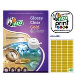 Etichetta adesiva GL4 Tico - sagomata - satinata oro - 45x21 mm - 48 etichette per foglio - conf. 100 fogli A4