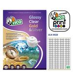 Etichetta adesiva SL4 Tico - sagomata - satinata argento - 44x16 mm - 60 etichette per foglio - conf. 100 fogli A4