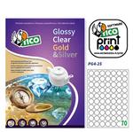 Etichetta adesiva PG4 - permanente - tonda ø 25 mm - 70 etichette per foglio - bianco lucida - Tico - conf. 100 fogli A4