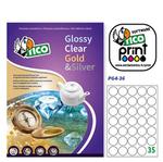 Etichetta adesiva PG4 - permanente - tonda ø 36 mm - 35 etichette per foglio - bianco lucido - Tico - conf. 100 fogli A4