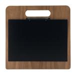 Portamenù a tagliere con anelli Chopping Board - legno di noce - 32x24 cm - Securit