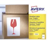 Etichetta adesiva con icona FRAGILE - permanente - 74x100 mm - rosso - Avery - rotolo da 200 etichette