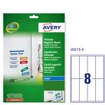 Etichetta magnetica J8875 Avery - bianco - adatta a stampanti inkjet - 50x140 mm - 8 etichette per foglio - conf. 5 fogli A4