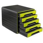 Cassettiera Smoove - 36x28,8x27 cm - 5 cassetti standard - nero/verde anice - Cep