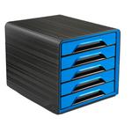Cassettiera Smoove -  36x28,8x27 cm - 5 cassetti standard - nero/blu oceano - Cep