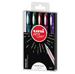 Penna sfera gel Uni Ball Signo  - punta 1,0mm - colori assortiti glitter - Uni Mitsubishi - astuccio 5 penne
