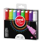 Marcatore a gesso liquido Uni Chalk Marker - punta scalpello da 1,80-2,50mm - astuccio 8 colori assortiti - Uni Mitsubishi