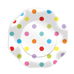 Piatti - multicolor - pois Ø23cm - 10 pezzi - Big Party