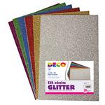 Fogli Gomma crepp - 20x30cm - glitter colori assortiti - CWR - Busta 10 fogli