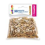 Mollettine mini - in legno - colore naturale - 25mm - CWR - Conf. 50 pezzi