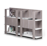 Libreria bassa Concept - 3 ripiani - 100x38,6x124 cm - bianco/frassino toscano - Artexport