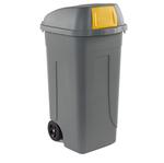 Bidone mobile Push - con coperchio - 49x54x95 cm - 100 L - grigio/giallo - Mobil Plastic