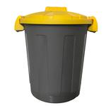 Contenitore portarifiuti Dusty - diametro 36 cm - altezza 45 cm - 25 L - coperchio giallo - Mobil Plastic