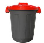 Contenitore portarifiuti Dusty - diametro 36 cm - altezza 45 cm - 25 L - coperchio rosso - nero - Mobil Plastic