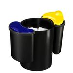 Cestino raccolta differenziata 516 - altezza 33,7 cm - diametro 26 cm -  nero/giallo/blu - Cep