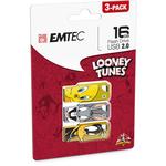 Emtec - Conf. 3 Memorie Usb 2.0 - Bugs Bunny/Tweety/Daffy Duck - ECMMD16GM752P3LT01 - 16GB cad