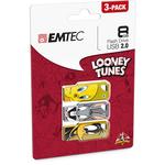 Emtec - Conf. 3 Memorie Usb 2.0 - Bugs Bunny/Tweety/Daffy Duck - ECMMD8GM752P3LT01 - 8GB cad