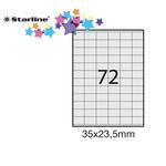 Etichetta adesiva Starline - bianco - 35x23.5 mm - 72 etichette per foglio - conf. 100 fogli A4