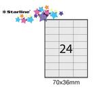 Etichetta adesiva - permanente - 70x36 mm - 24 etichette per foglio - bianco - Starline - conf. 100 fogli A4