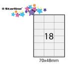 Etichetta adesiva- permanente - 70x48 mm - 18 etichette per foglio - bianco - Starline - conf. 100 fogli A4