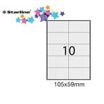 Etichetta adesiva - permanente - 105x59 mm - 10 etichette per foglio - bianco - Starline - conf. 100 fogli A4