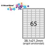Etichetta adesiva - permanente - 38,1x21,2 mm - angoli tondi - 65 etichette per foglio - bianco - Starline - conf. 100 fogli A4