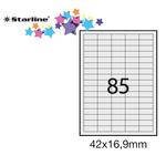 Etichetta adesiva - permanente - 42x16,9 mm - 85 etichette per foglio - bianco - Starline - conf. 100 fogli A4