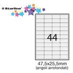 Etichetta adesiva - permanente - 47,5x25,5 mm - angoli tondi - 44 etichette per foglio - bianco - Starline - conf. 100 fogli A4