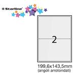 Etichetta adesiva - permanente - 199,6x143,5 mm - angoli tondi - 2 etichette per foglio - bianco - Starline - conf. 100 fogli A4