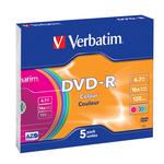 Verbatim - DVD-R - slim case 16x 4.7gb 120min. serigrafato colorato - Conf. da 5 dvd