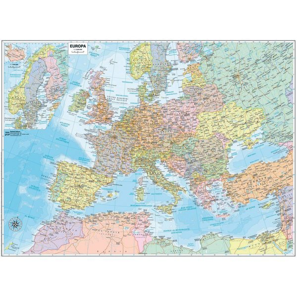 Carta geografica murale Belletti - Europa - 70x91 cm - aste in plastica - M12...