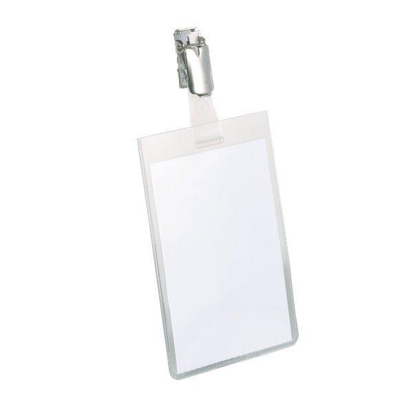 Portanome tasca chiusa con clip in metallo