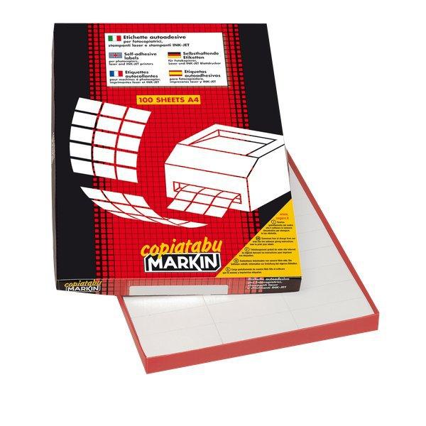 24 ETICHETTE // FOGLIO ETICHETTE ADESIVE MARKIN 70X36 MM 100 FOGLI X210C500