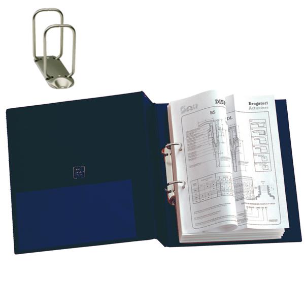 Raccoglitore Stelvio - 2 anelli quadri 65 mm - 22x30 cm - blu - Sei Rota