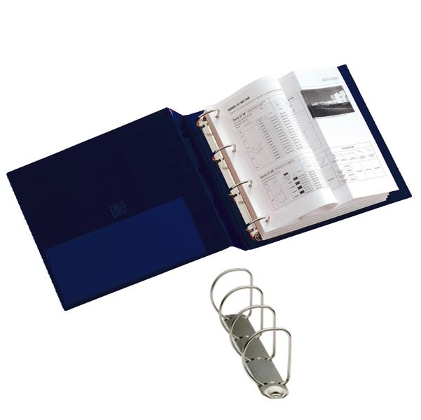 Raccoglitore Stelvio - 4 anelli a D 40 mm - dorso 5,5 cm - 22x30 cm - blu - Sei Rota