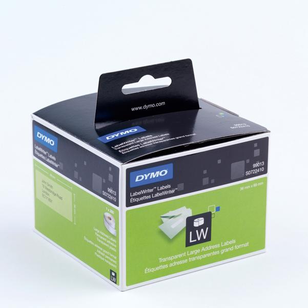 Rotolo 260 etichette LW 990130 - 36x89 mm - plastica trasparente - indirizzi estesi - Dymo