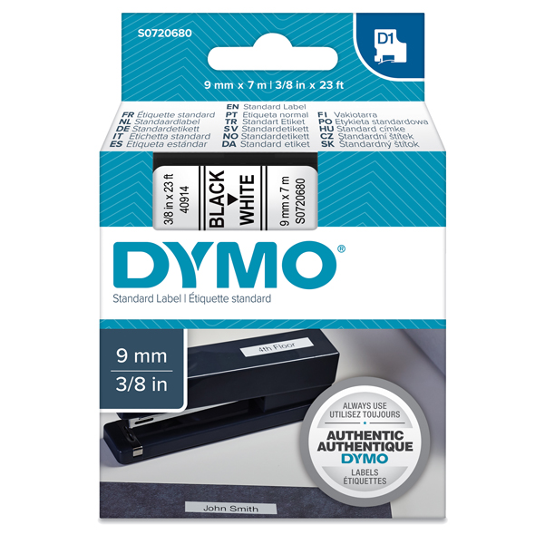 Nastro D1 409130 - 9 mm x 7 mt - nero/bianco - Dymo