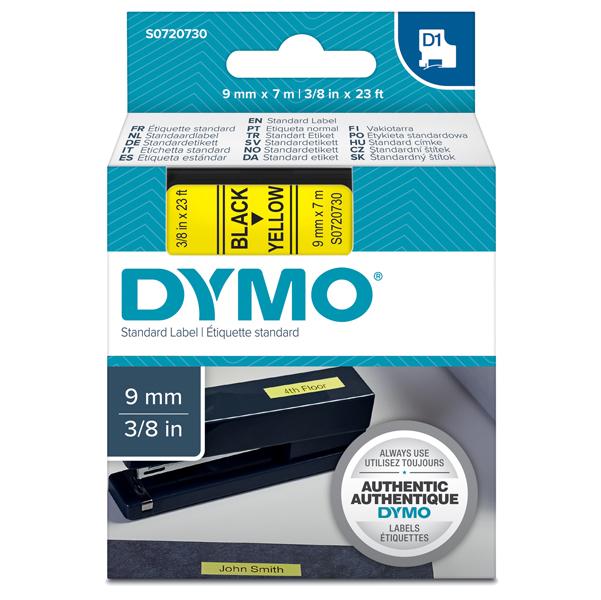 Nastro D1 409180 - 9 mm x 7 mt - nero/giallo - Dymo