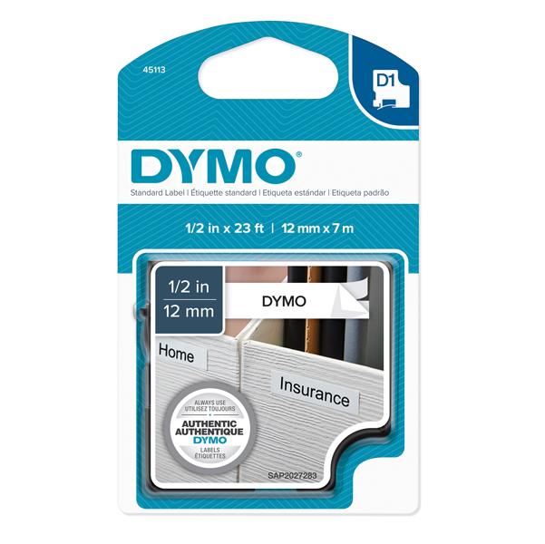 Nastro D1 450130 - 12 mm x 7 mt - nero/bianco - Dymo