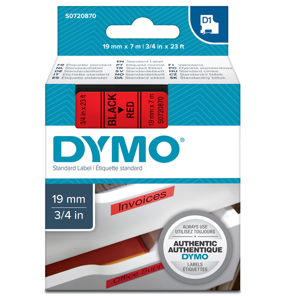 Nastro D1 458070 - 19 mm x 7 mt - nero/rosso - Dymo