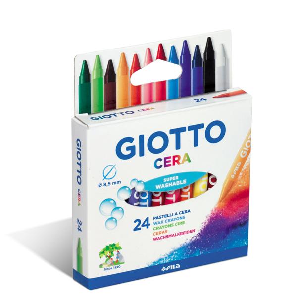 Pastelli cera - 90mm - ø 8.5mm- colori assortiti - Giotto - Conf. astuccio 24 colori