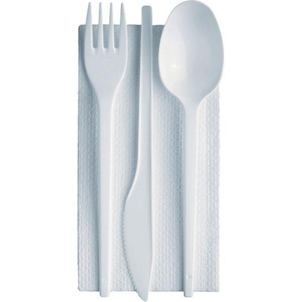 Tris posate linea plastica con tovagliolo dopla bianco for Plastica riciclata prezzo