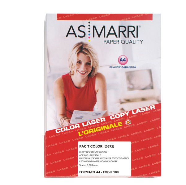 Adesivo poliestere - stampa laser - A4 - trasparente permanente - As Marri - conf. 100 fogli