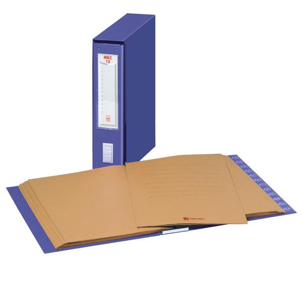 Classificatore numerico Mec - 12 cartelline 3 lembi - 23x32 cm - dorso 7 cm - blu - King Mec