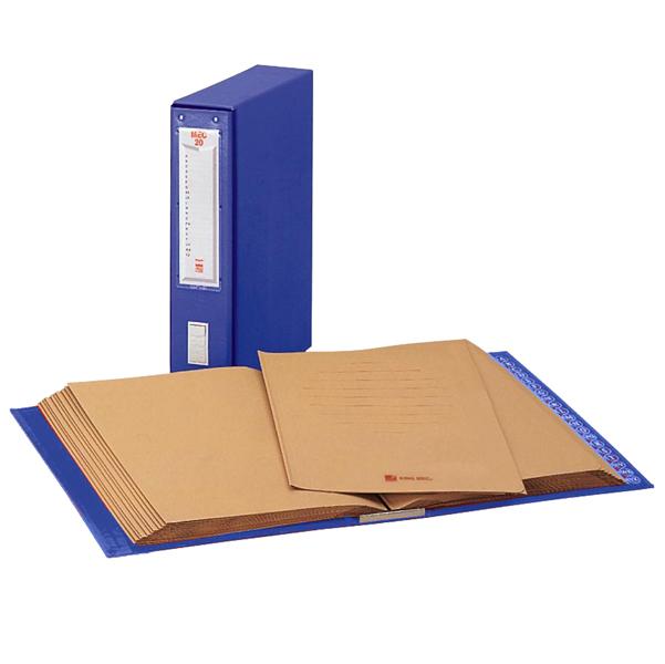 Classificatore alfabetico Mec - 20 cartelline 3 lembi - 23x32 cm - dorso 8.5 cm - blu - King Mec