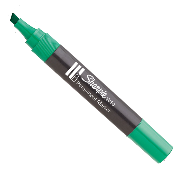 Marcatore permanente W10  - punta a scalpello 5,00mm - verde - Sharpie